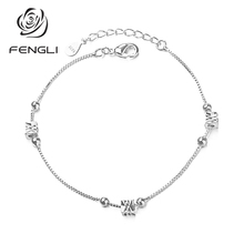 цена на FENGLI Unique Silver Square Bracelets for Women Elegant Geometric Tiny Chain Bracelet Adjustable Temperament Femme Bangles