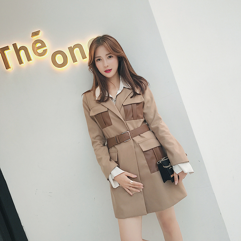 Patchwork Vintage Long Sashes Blazers Autumn Women Retro Office Outfits Notched Collar Blaser Jacket casaco feminino
