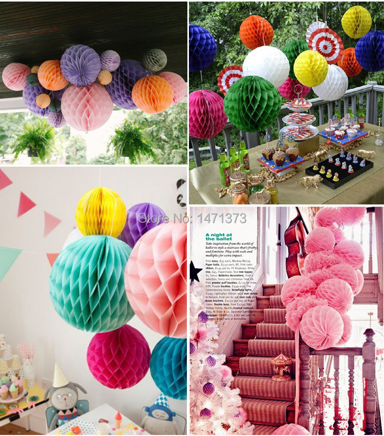 Crafts Artificial Flowers 30pcs Honeycomb Ball Tissue Paper Fans Poms Wedding Party Favors Living Room Decorations Decorative In Dried