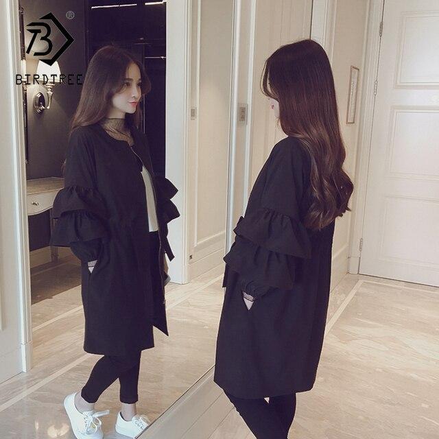 Мода 2018 Новая осень Для женщин Trech корейский стиль длинный рукав с круглым вырезом модные широкие waiste Твердые карманы на молнии Верхняя одежда C87236L