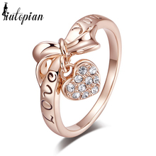 "Iutopian Brand ""Love You"" Letter Heart & Bow Rings Anel For Women With Austrian Crystal Stellux Top Quality #RG95110"