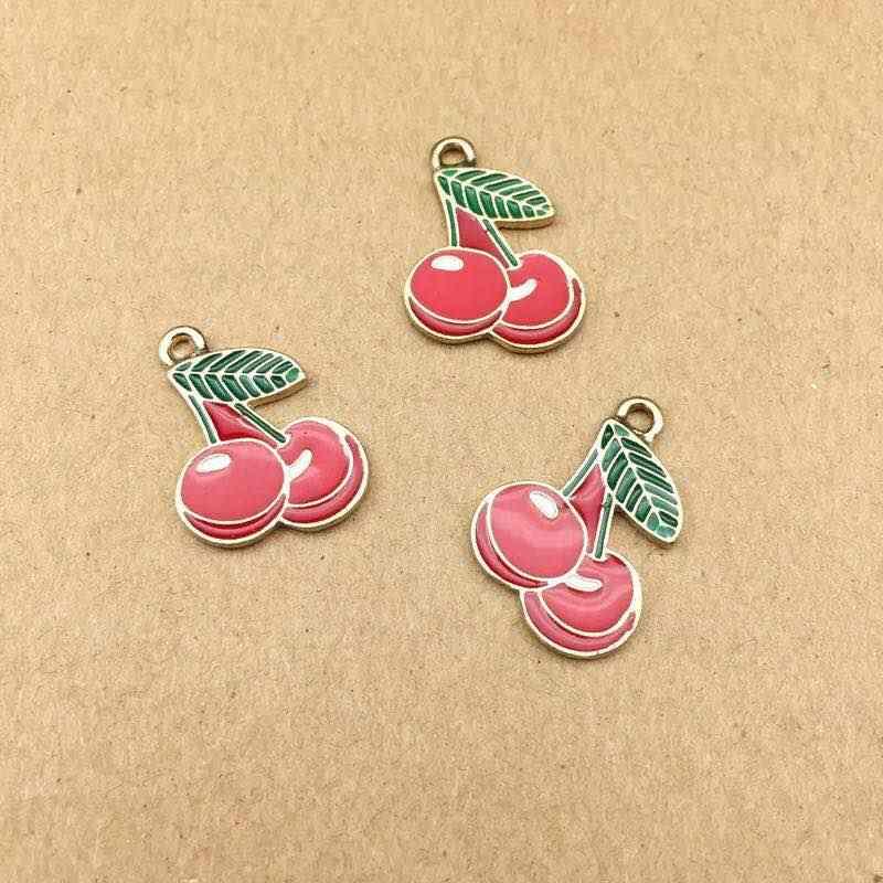 wholesa 20 pcs Fashion alloy Enamel Cherry Strawberry charms Enamel fruit pendants for DIY necklace earring charms jewelry makin