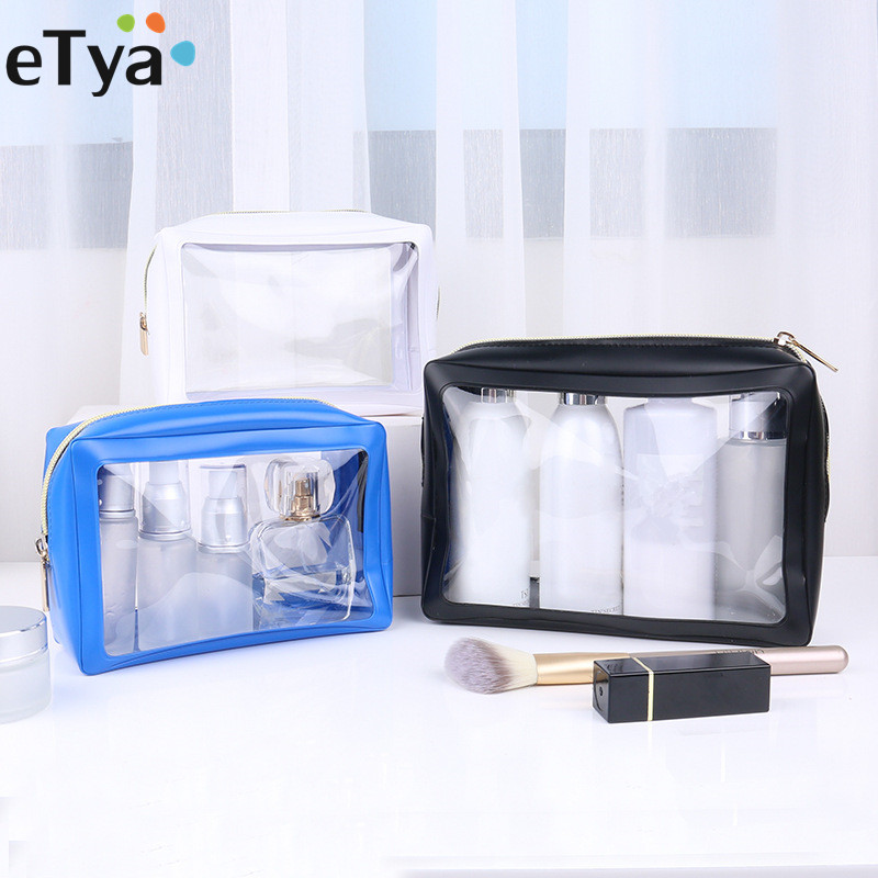 ETya PVC Clear Small Large Cosmetic Bag For Make Up Travel Women Neceser Makeup Toiletry Bags Organizer Transparent Pouch Case