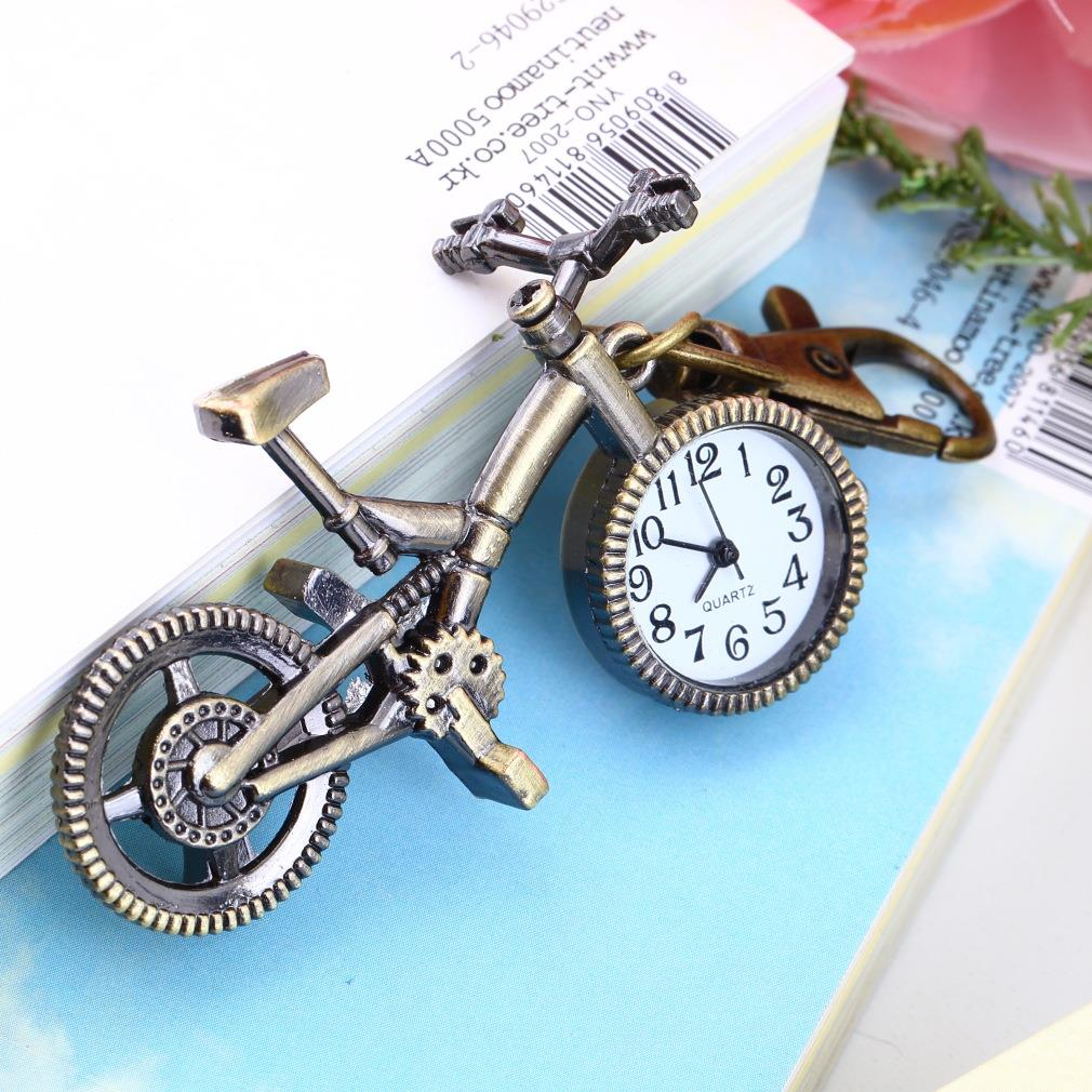 Fashion Vintage Bronze Color Bike Keychain Clock Quartz Pocket Pendant Watch Necklace Sweater Key Chain Bags For Women Boys Gift