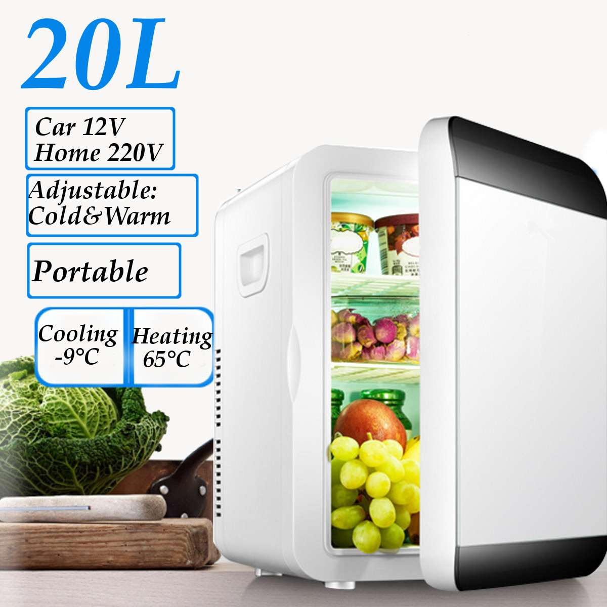20L Dual Refrigeration Mini Refrigerator Small Home Mini Dormitory Home Dual-use Single Door Hot & Cold