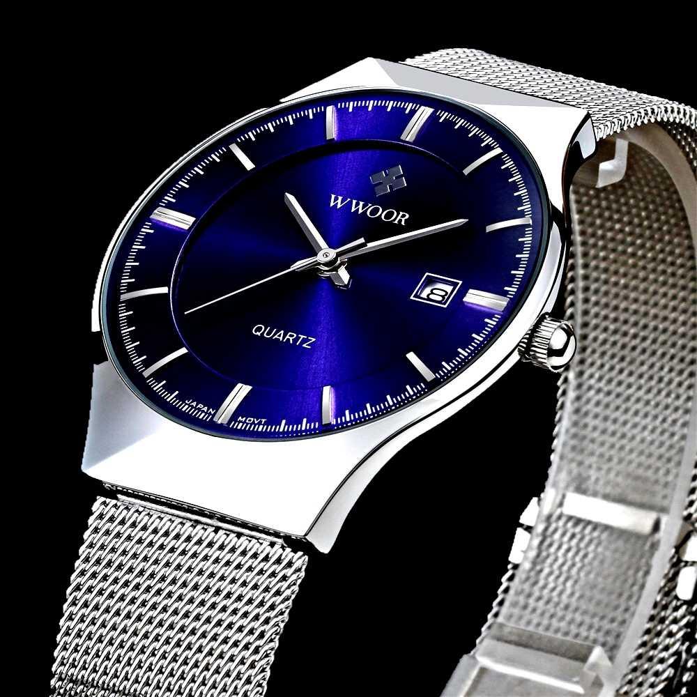 5d95306a6b85 Новая мода Топ luxury brand WWOOR часы Мужские кварцевые-часы из  нержавеющей стали с сетчатым