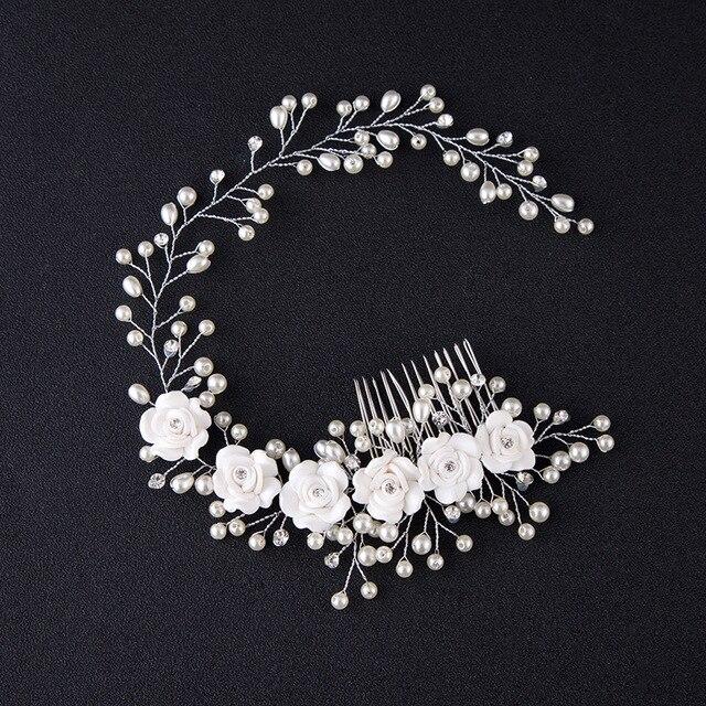 79c305b17 أزياء العرائس اليدوية تقليد اللؤلؤ الخرز الزهور الشعر استوديو الصور مع  ماكياج الزفاف مشط مجوهرات اكسسوارات