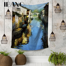 IBANO Chinese Scenery Painting Tapestry Art Wall Hanging Blanket Home Decoration for Bedroom Dorm Yoga Mat Table Cloth Tapestry