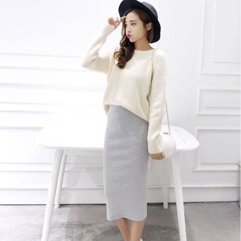2016 Summer Skirts Sexy Chic Pencil Skirts Women Skirt Wool Rib Knit Long Skirt Package Hip Split Waist Midi Skirt Maxi A919 #4
