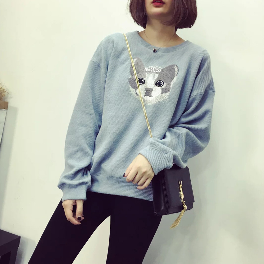 2016 fall new cat embroidery printing hedging long sleeved casual sweater font b fashion b font