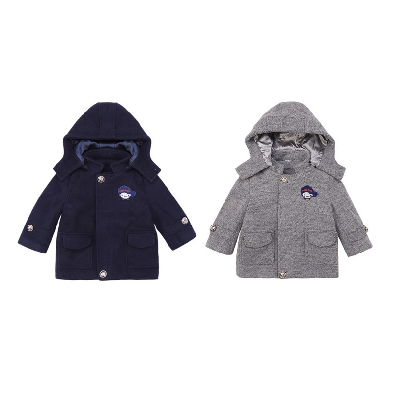 Children's Warm Woolen Coat Children Coats  New Winter Boys Thick Casual Outerwear Kids Clothing 1-5Y