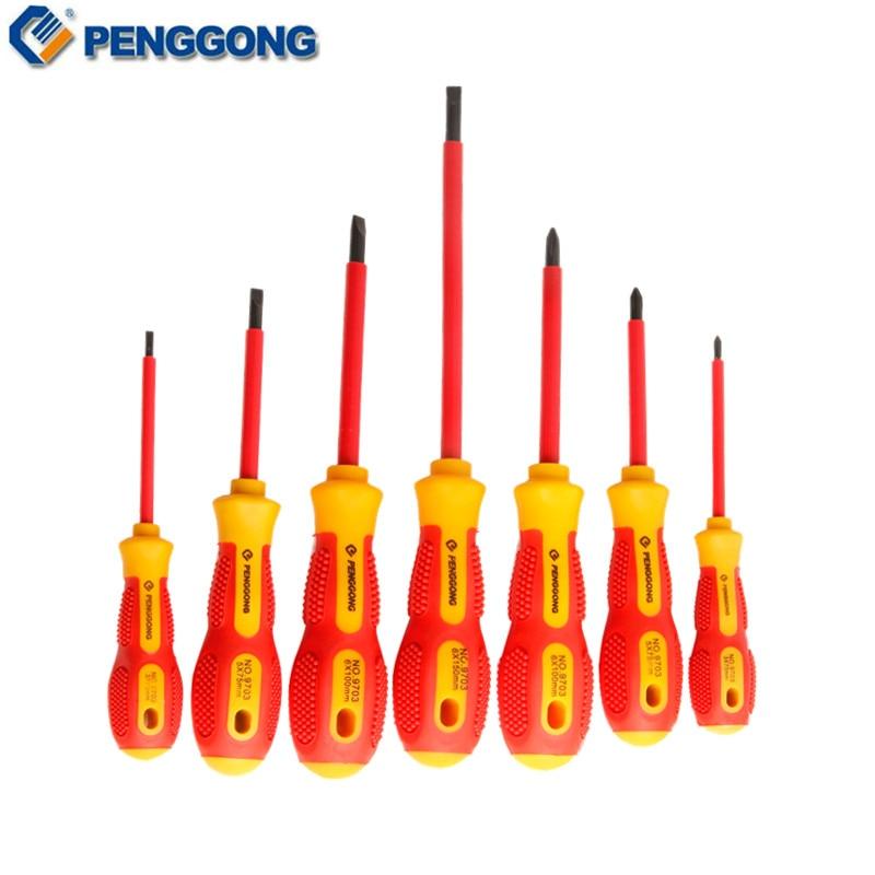 PENGGONG 7Pcs Screwdriver Set Insulated Screwdriver Bits Magnetic Electrician Precision Phillips 1000V Voltage Repair Hand Tools цена