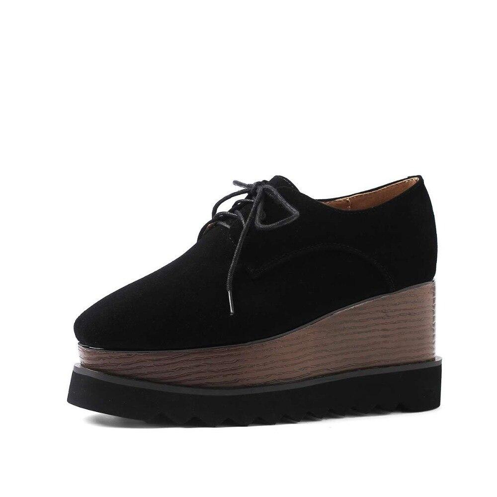 ENMAYER Primavera Mulher Sapatos de Salto Alto Do Dedo Do Pé Quadrado Calcanhar Quadrado Plataforma Mulheres Casual Shoes Lace up Namoro Sólida Rasa sapatos de senhora - 4