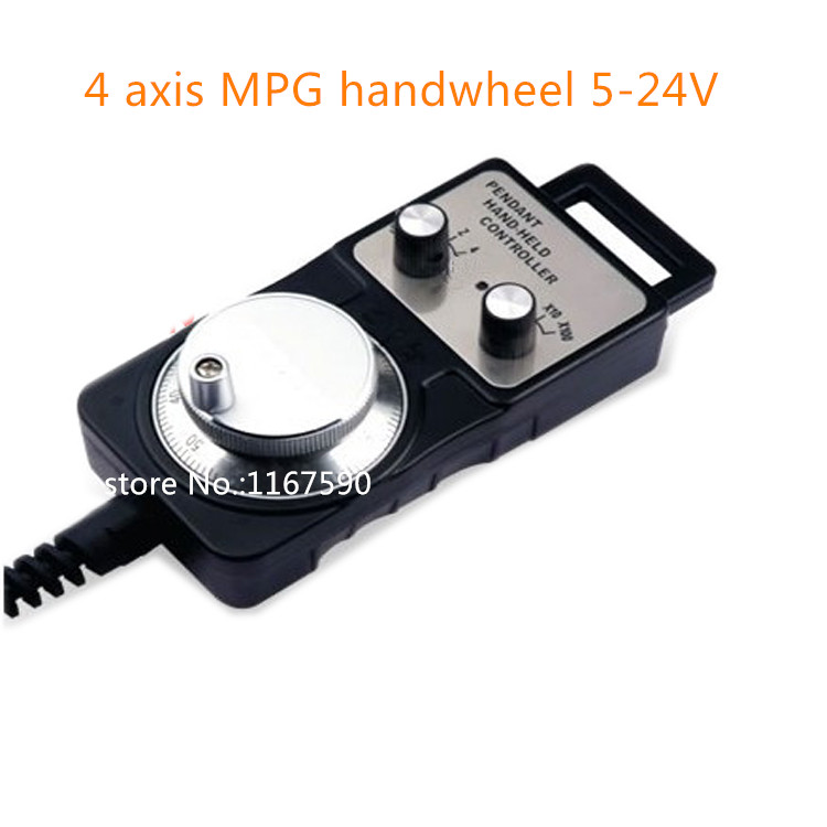 4 axis Pendant Handwheel 5-24V 5V 12V 24V manual pulse generator MPG for Siemens, MITSUBISHI, FANUC mpg handwheel handy pulser 4 axis 5v 15v 25ppr for mitsubishi cnc system with cable
