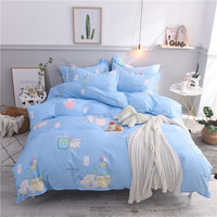 Lovely Cat Duvet Cover Twin Full Queen King Size Cartoon Style flower Bedding Kids blue Color Single Bed Sheets With Pillowcase