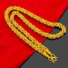 High Quality Men Necklace Dragon Texture Copper Plated Male10mm Thick Gold Chain Necklaces Personality Luxury Classic Jewelry