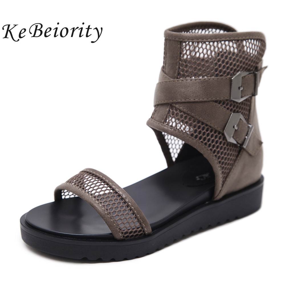 KEBEIORITY Women Sandals Open Toe Flat Platform Summer Shoes Sandals with Buckle Black Brown Shoes Woman Wedges Ankle Shoes 2018 plus size 34 44 summer shoes woman platform sandals women rhinestone casual open toe gladiator wedges women zapatos mujer shoes