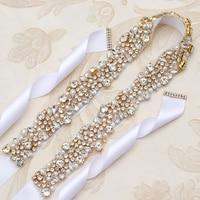 Yanstar Rhinestones Bridal Belt Pearls Gold Wedding Belt Hand Beaded Crystal Dress Belt For Wedding Decoration 35WB880