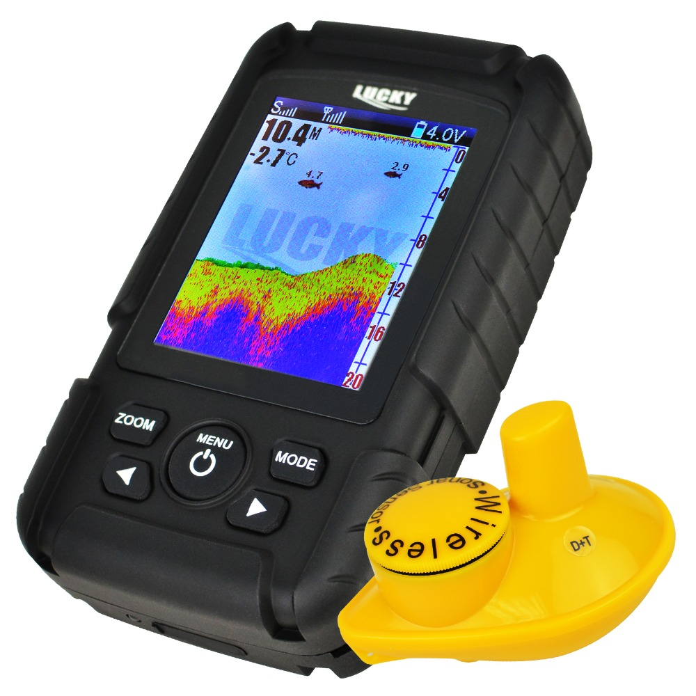 FF-718LIC-W Lucky Rechargeable Colored LCD Fish Finder 180m (590ft) Wireless Sonar Sensor, 45M (145ft) Depth Coverage lucky ff 718 duo с зимним датчиком