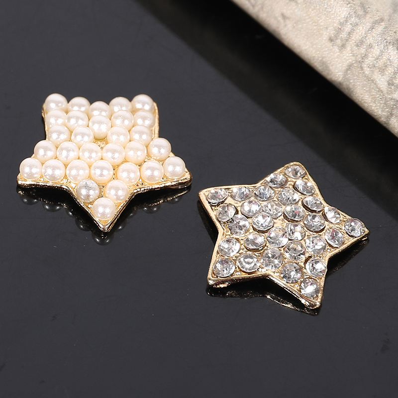 2015New 50Pcs Five-pointed Star Rhinestone Or Pearl Alloy Buttons For Embellishment Button DIY Accessories ZJ184
