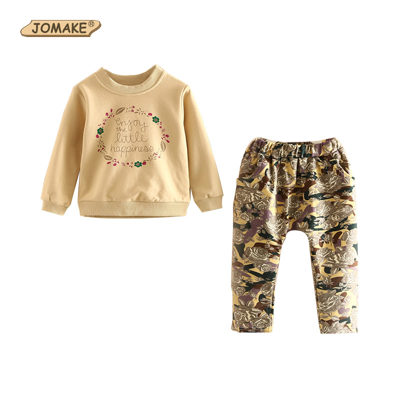 JOMAKE Girls Clothing Sets 2017 New Autumn Brand Kids Clothes Set Flowers Printed Sweatshirts+Pants 2Pcs Girl Suit For 2-9 Years
