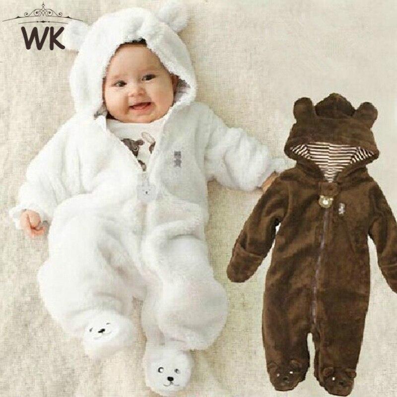 Inverno Collant Bambino di stile Dell'orso dei bambini di corallo del panno morbido Felpe tuta del bambino appena nato cursori appena nato toddle vestiti JP-133