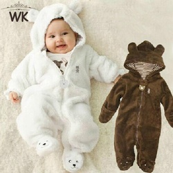 Winter Child Pantyhose Bear style children's coral fleece Hoodies overalls newborn baby sliders newborn toddle clothes JP-133