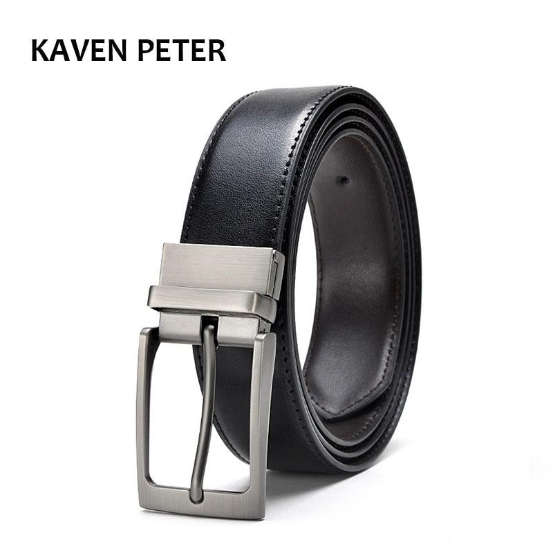 Men Reversible Buckle Belts Mens Leather Handmade Belt Hot Fashion Cowhide Leather Men Belt Black Dark Brown Color