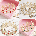 Vintage Baroque Round Princess Tiara Crown Gold Wedding Hair Accessories Pearl Bridal Jewelry Headpiece Party Tiaras
