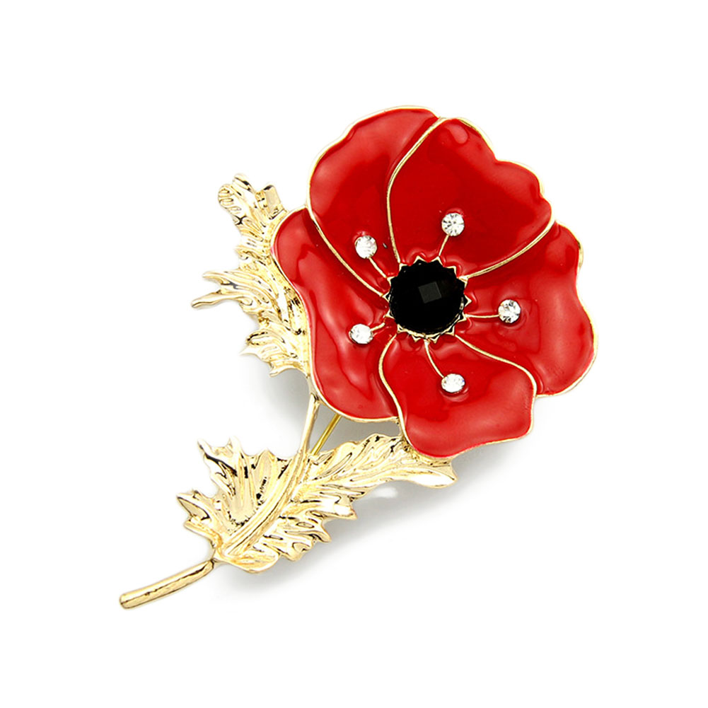 Red Poppy Flower Corsage Fashion Oil Painting Brooch Lady Free Shipping