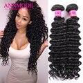 Annmode Brazilian Virgin Hair Deep Wave 3 Bundles Deep Curly Brazilian Hair Weave Bundles 8a Grade Virgin Unprocessed Human Hair