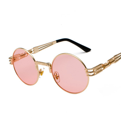 COOLSIR Vintage Retro Gothic Steampunk Mirror Sunglasses Gold and Black Sun Glasses Vintage Round Circle Men UV Gafas De Sol in Men 39 s Sunglasses from Apparel Accessories