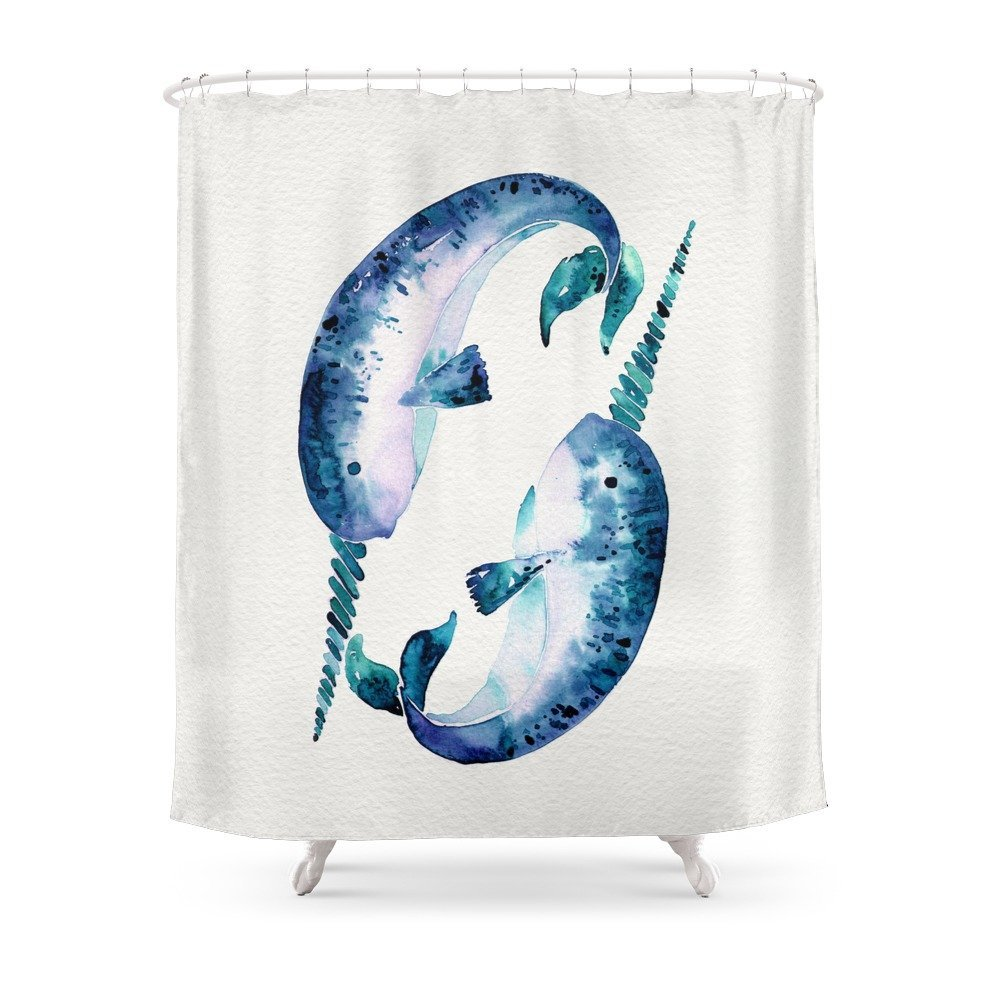 Blue Narwhals Shower Curtain Waterproof Bathroom Polyester Fabric Bathroom Curtain