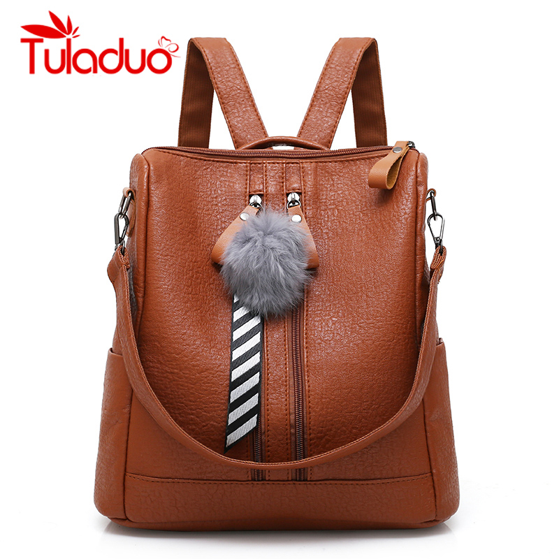 Tuladuo Brand Fashion Women Backpacks Fur Ball School Bags High Quality PU Leather Backp ...