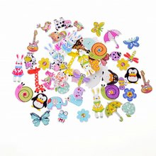 Free shipping 50pcs Random Mixed Decorative Buttons Lovely Buttons 2 Holes Mixed Sewing Wooden Buttons Flatblck Scrapbooking(China)