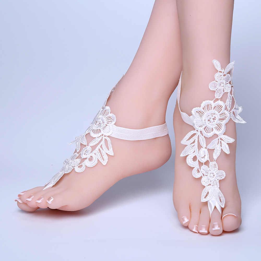 ใหม่เท้าลูกไม้ข้อเท้าสร้อยข้อมือชายหาดเจ้าสาวแต่งงาน Barefoot รองเท้าแตะผู้หญิงสีขาว