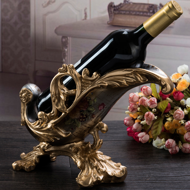 The new European wine rack Home Furnishing luxury Decor resin crafts wine living room decoration decoration