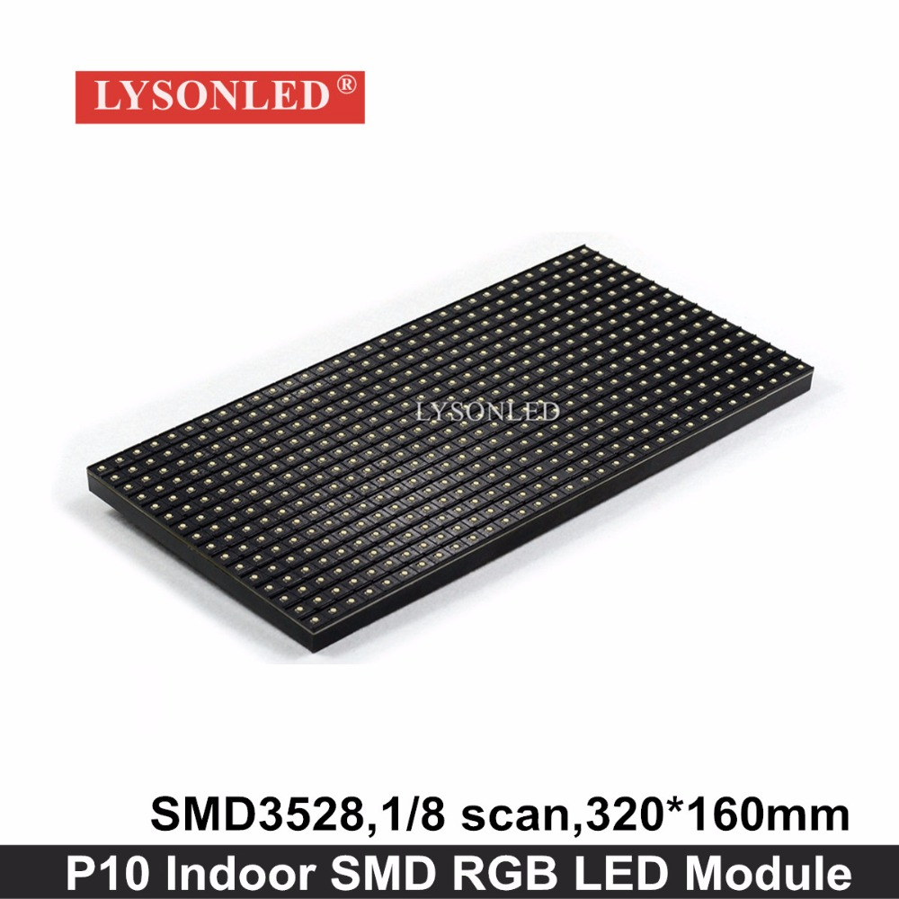 Lysonled 2017 Rushed 320x160mm P10 Indoor Smd Rgb Led Module, 1/8 Scan P10 Indoor Rgb Led Video Display Panel 32x16 Dots