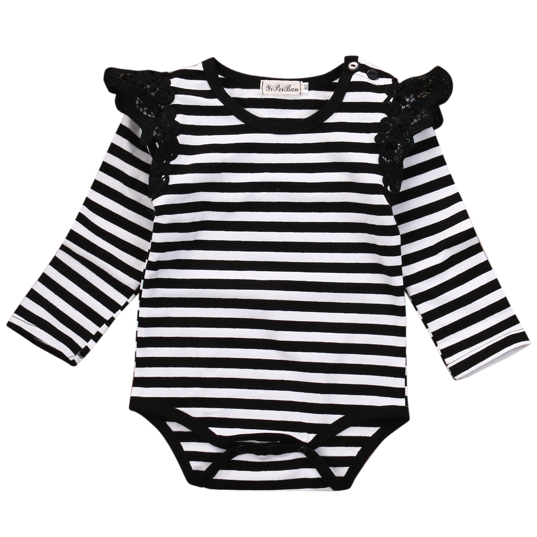 Spring Autumn Bodysuit 2016 Todder Kids Infant Baby Girl striped long sleeve Bodysuit with lace Outfits Clothes