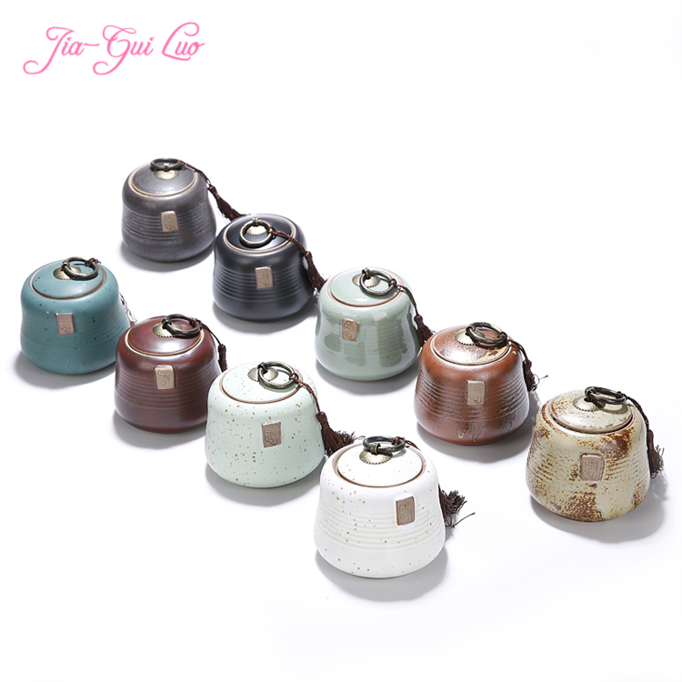 Jia-gui luo Classic simple and elegant ceramic tea box, beautiful bottle seal, suitable for collection of all kinds snacks
