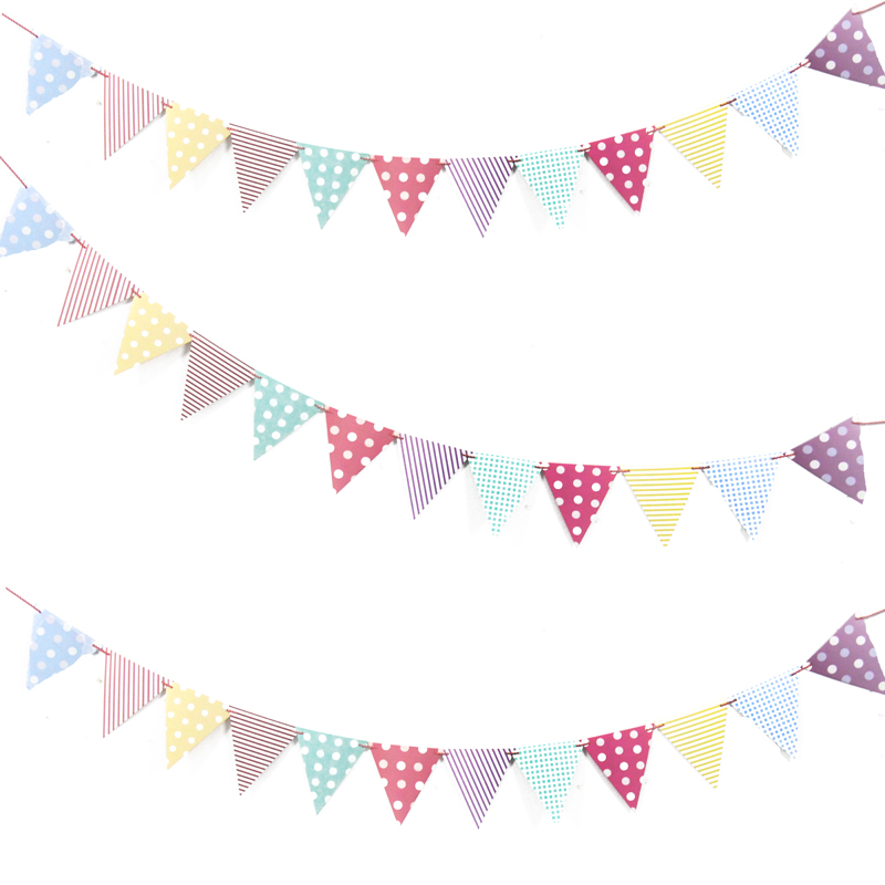 1set diy paper flags garland floral bunting banners kids for Wallpaper suppliers near me