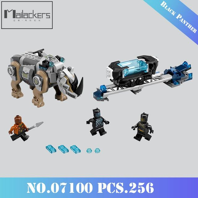Mailackers 07100 Marvel Super Heroes Black Panther Rhino 256PCS Energy Crystal 76099 Legoing Building Blocks Toys