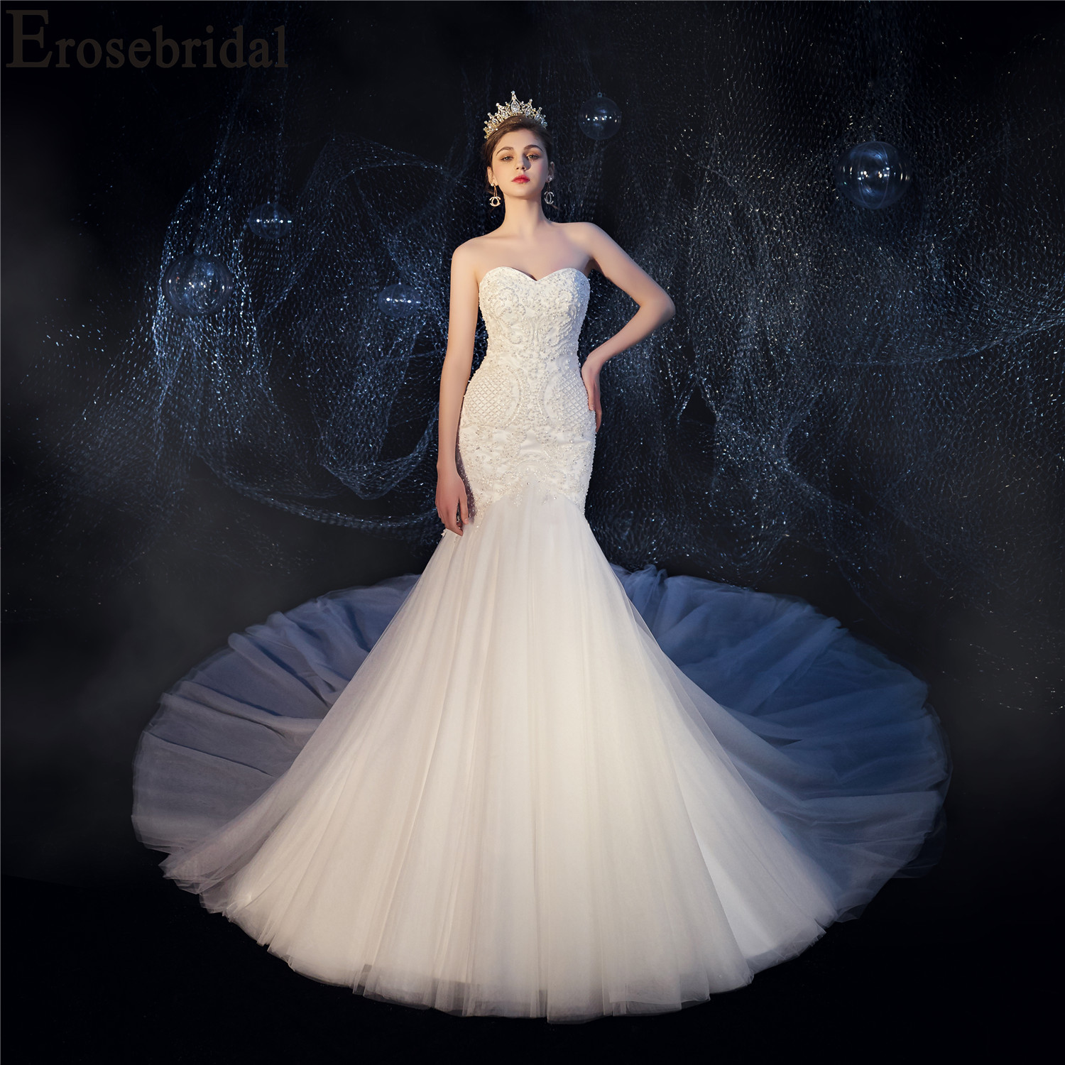 2019 Mermaid Wedding Dress Luxury Beaded Pearls Bridal Gown with Cathedral 2M Train Lace Up Back