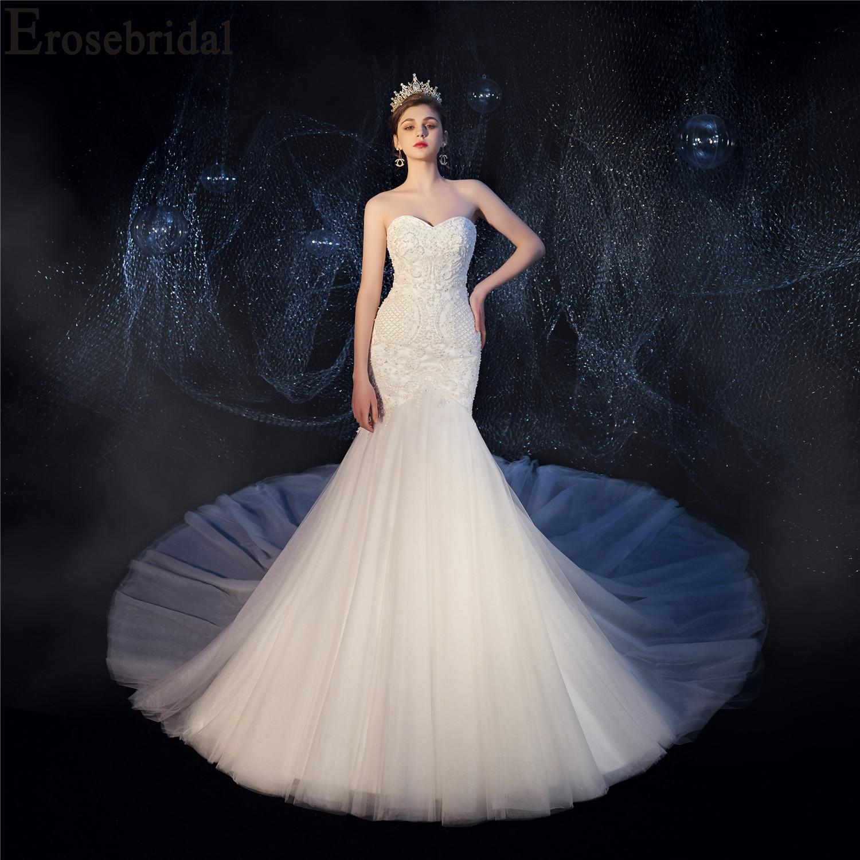 2019 Da Sereia Do Vestido de Casamento Pérolas de Luxo Frisado Vestido De Noiva com Catedral (2 M) trem Ata Acima para Trás para Ajustar O Tamanho