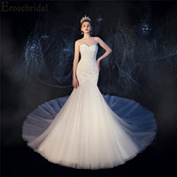 2019 Mermaid Wedding Dress Luxury Beaded Pearls Bridal Gown with Cathedral ( 2M) Train Lace Up Back for Adjusting Size