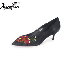 Xiangban Genuine Leather Women Pumps Shoes Sexy Stilettos Handmade Embroidery Pointed Toe Mid Heels Shallow Mouth