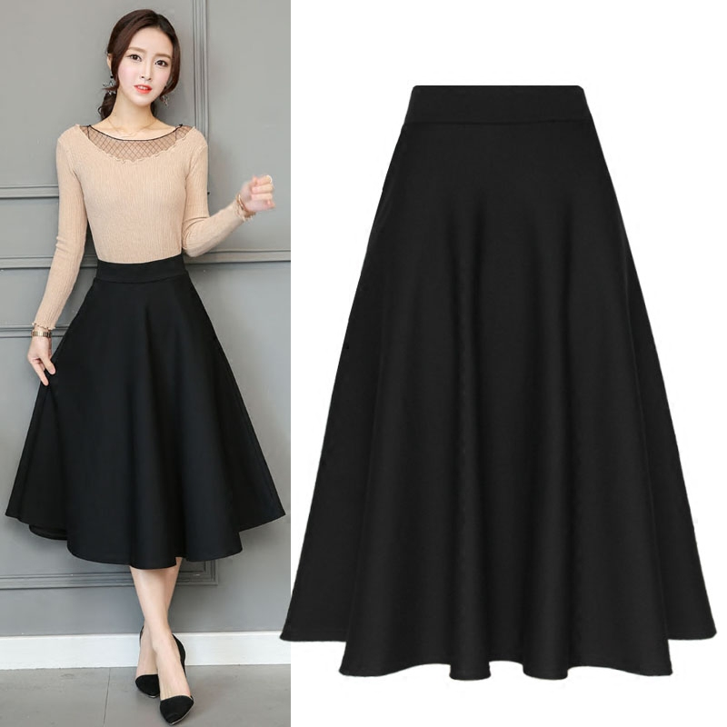 new spring fHigh Waist ashionSkirt Knee Length Fall Winter high quality Black Wine Red Female Skirts Bottoms kilt ...