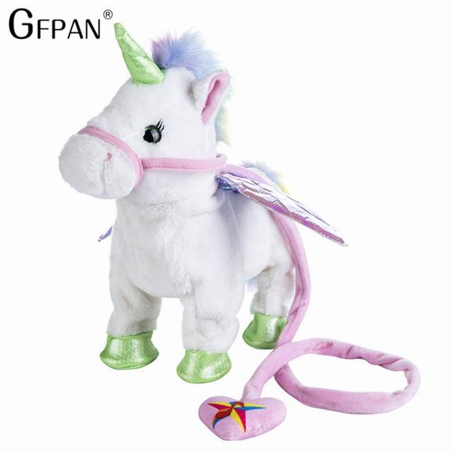 Hot Toys35cm Magic Walking Unicorn Plush Toy Stuffed Animal Toy Electronic Music Newborn player Toy for Children Christmas Gifts