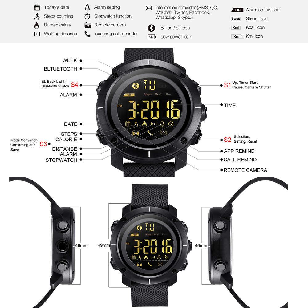NEW LEMFO LF19 Smart Watch Waterproof IP68 5ATM Message Reminder Ultra long  Standby Outdoor Swimming Sport Backlight Smartwatch-in Smart Watches from  ... b62b9be216