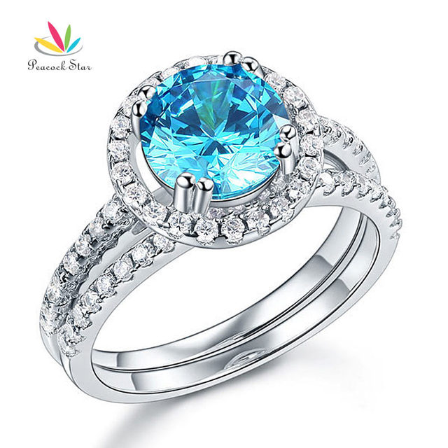 Peacock Star Solid 925 Sterling Silver Wedding Engagement Halo Ring Set 2 Ct Fancy Blue Created Diamond Wedding Jewelry CFR8219